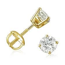 gold diamond earrings 1 2ct diamond stud earrings set in 14k yellow gold with