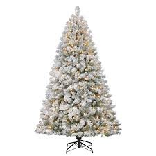 shop living 7 ft pre lit fir flocked artificial