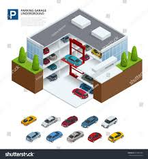 House Car Parking Design Underground Parking Cars Indoor Carpark Under Stock Vector