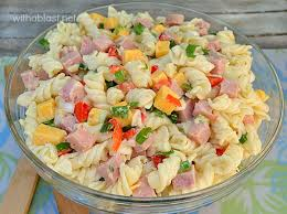 pasta slad ham and cheese pasta salad with a blast