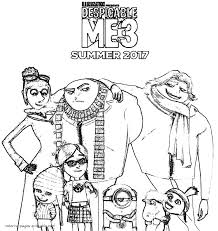 despicable me 3 coloring pages to print minions pinterest