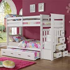 Amazon Com Bunk Bed All In 1 Loft With Trundle Desk Chest Closet by White Bunk Beds With Drawers Top Bunk Beds Review