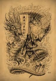 latest samurai warrior dragon fight tattoo design real photo