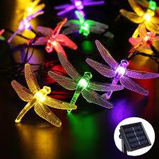 led christmas string lights outdoor 6m 30 led dragonfly outdoor lighting rgb solar light led christmas