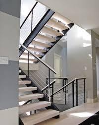 Modern Stairs Design Grey Hardwood Floors With Open Staircase U0026 Steel Railings Our