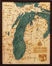 Green Lake Wisconsin Map by Lake Michigan Michigan Wisconsin Large Wood Chart Wooden