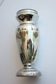 mercury glass urn vase antique hand painted mercury glass vase 2 available for sale at