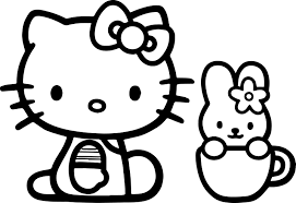 hello kitty and bunny coloring page wecoloringpage