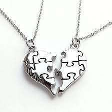 stainless steel puzzle necklace images Split heart necklace 2 piece heart necklace jpg