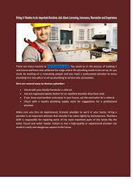 Plumbing A New House Hiring A Plumber Is An Important Decision Ask About Licensing