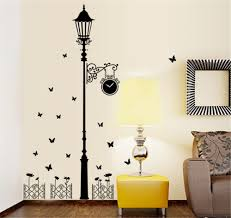 Modern Wall Stickers For Living Room Modern Minimalist Street Lamp Flying Butterfly Fence Wall Decals