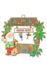 hawaiian hand painted metal die cut christmas ornament holiday