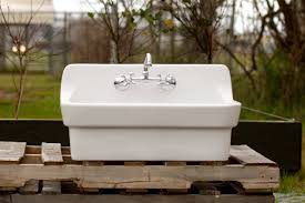 kitchen and utility sinks amazon com vintage style high back farm sink original porcelain