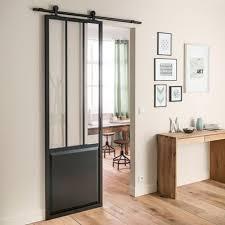 porte de cuisine en verre porte coulissante aluminium atelier verre clair noir artens h 224 x