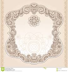 henna tattoo flower frame doodle vector design stock vector