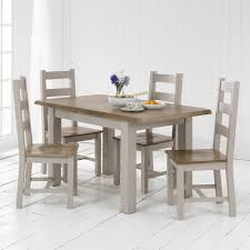 grey painted small dining table and 4 dining chairs