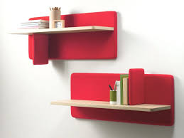 Plans For Bookcase Furniture Simple Wall Mounted Red Bookcase Design With Two Tier