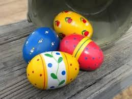 painted wooden easter eggs 4 painted wood easter eggs blue yellow flowers stripes