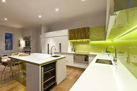 Green Kitchens by Beautiful Modern Kitchen Green Design With Pendant Light And Decor