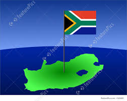 Afican Flag Illustration Of Map Of South Africa With Flag