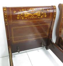 Antique Sleigh Bed Pair Antique Dutch Marquetry Inlaid Sleigh Beds