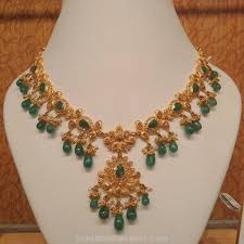 emerald gold necklace images Light weight emerald necklace south india jewels jpg