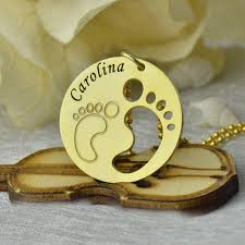 footprint necklace personalized gold color baby necklace engraved kids name disc baby necklace