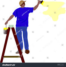 painting a wall vector worker painting wall on double stock vector 16196875
