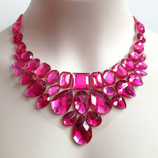 pink rhinestone necklace images On sale hot pink rhinestone bib necklace from bienbijou on etsy jpg