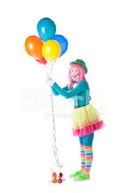 clowns balloons clowns girl mime holding colorful balloons stock