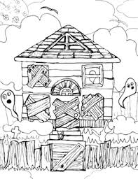 printable spooky house haunted house coloring page png