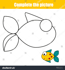 complete picture children educational game coloring stock vector