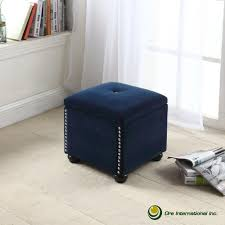 Navy Ottoman Navy Blue Suede Storage Seating Hb4708 The Home Depot