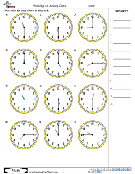brilliant ideas of analog clock worksheets with cover