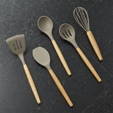 Organic Kitchen Utensils - silicone utensils with bamboo handle crate and barrel