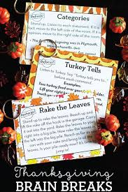 brain breaks for thanksgiving freebie brain breaks brain and