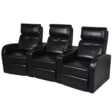 Cinema Recliner Sofa Black Artificial Leather Home Cinema Recliner Reclining Sofa 3
