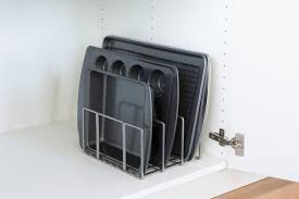 cookie sheet storage rack wood tray dividers for kitchen cabinets
