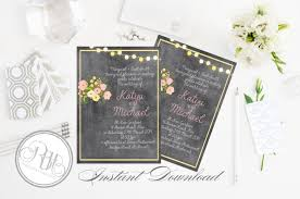 Mason Jar String Lights Rustic Chalkboard Wedding Invitation Instant Download Template