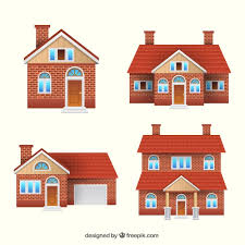 set of four brick houses vector free