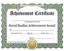 free printable social studies achievement award certificates