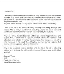 recommendation letter for teacher assistant miscellaneous
