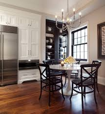black pub and bistro tables kitchen transitional with chandelier
