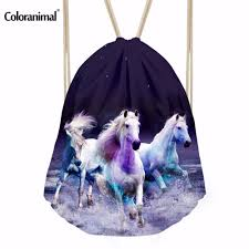 Horse Christmas Gifts For Men Coloranimal Brand Design 3d Animal Crazy Horse Print Drawstring Bags