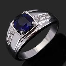 blue man rings images Suohuan size 8 11 women men rings round blue zirconia stone cz jpg