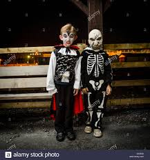 Boys Skeleton Halloween Costume Two Young Boys In Dracula And Skeleton Fancy Dress Costumes For