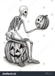 Halloween Skeleton Hand by Halloween Skull Pumpkin Hand Drawing On Stock Illustration