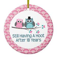 18th anniversary gift 18th anniversary owl wedding anniversaries gift ceramic ornament