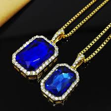 necklace blue stone images 2017 new bling faux lab blue stone pendant necklace gold color jpg