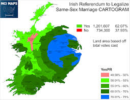 Cartogram Map The Numbers Behind Ireland U0027s Historic Vote On Same Marriage
